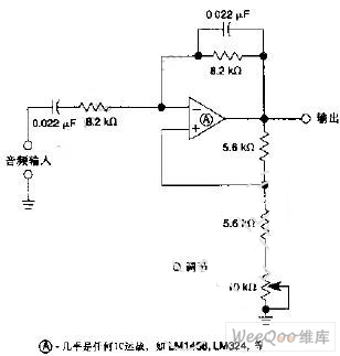 中心频率为900Hz带宽可调音频滤波器电路图
