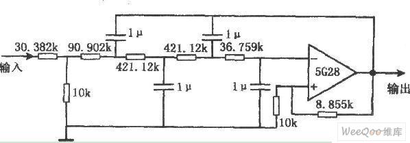 巴特沃兹四阶有源低通滤波器电路图
