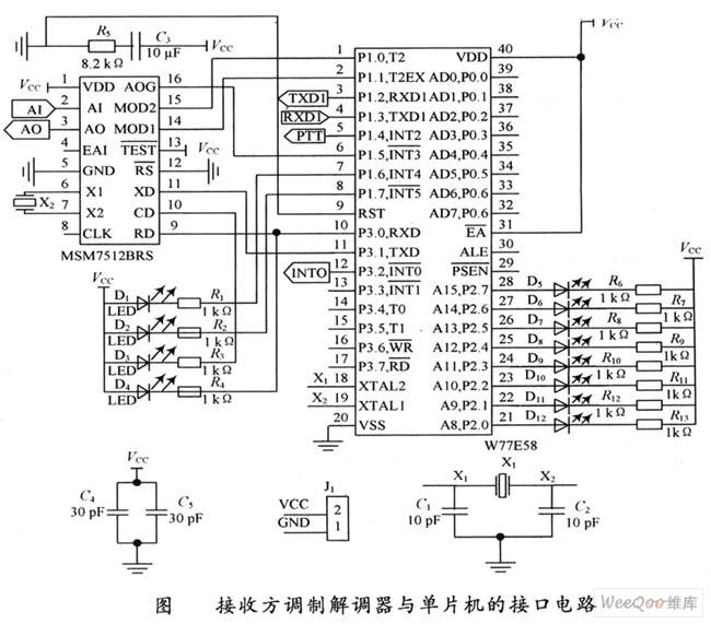 接收方调制解调器与单片机的接口电路图