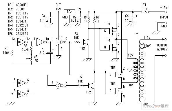 直流12V转交流100V逆变器电源电路图-200W稳压逆变电路图图片