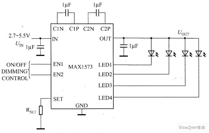 MAX1573驱动白光LED电路图