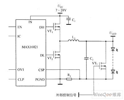 MAX16821/MAX16821A/MAX16821B/MAX16821C驱动白光LED电路图