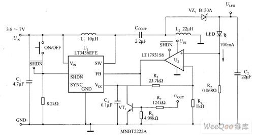 LT3436EFE驱动大功率白光LED电路图