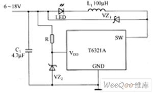 T6321A/T6325A驱动LED电路图