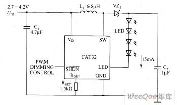 CAT32驱动白光LED电路图