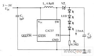CAT37驱动白光LED电路图