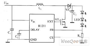 R1211驱动白光LED电路图