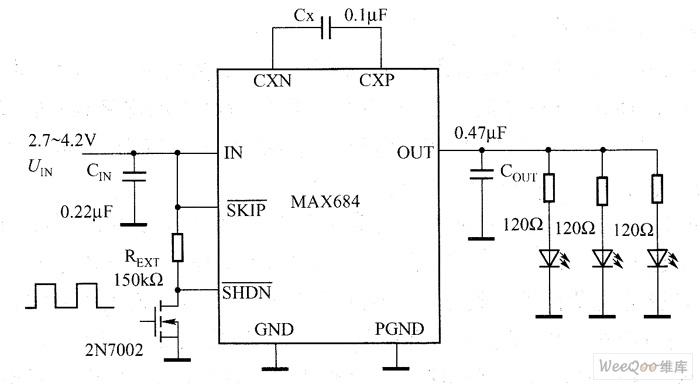 MAX684电荷泵驱动白光LED电路图