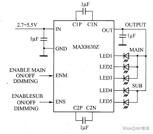 MAX8630Y/ MAX8630Z驱动白光LED电路图