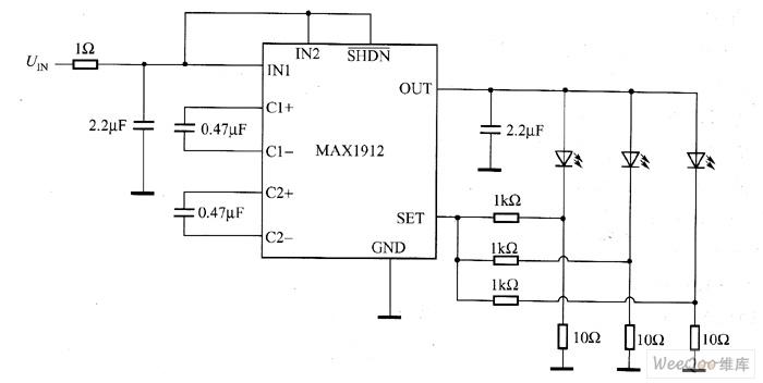 MAX1912驱动白光LED电路图