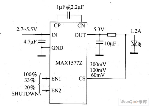 MAX1577V/MAX1577Z驱动白光LED电路图