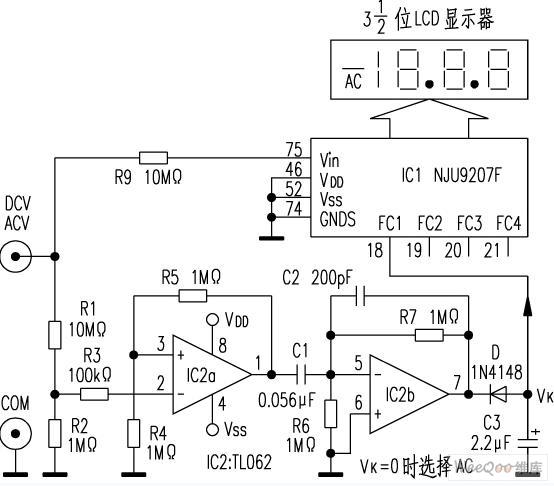 万用表AC/DC自动转换电路图