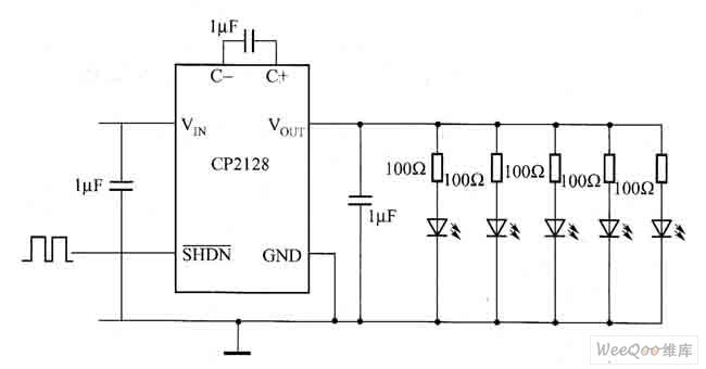 一种低噪声、固定频率的驱动白光LED电路图