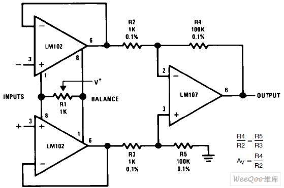 【图】差分输入仪表放大器电路图仪表放大器电路