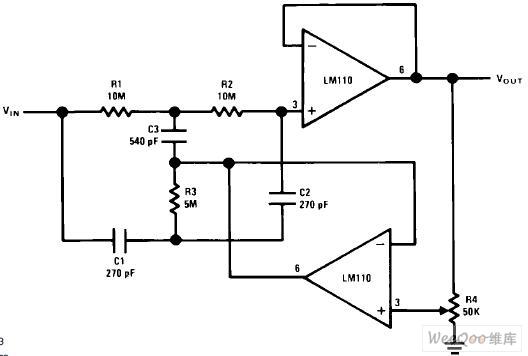 Q可调陷波滤波器电路图