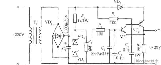 0~20v、1A稳压电源电路图
