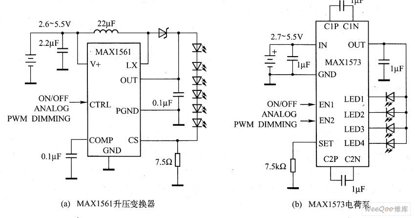 升压和电荷泵变换器驱动LED应用电路图