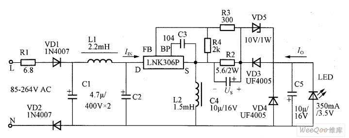 正端降压/升压式LED恒流驱动电路图
