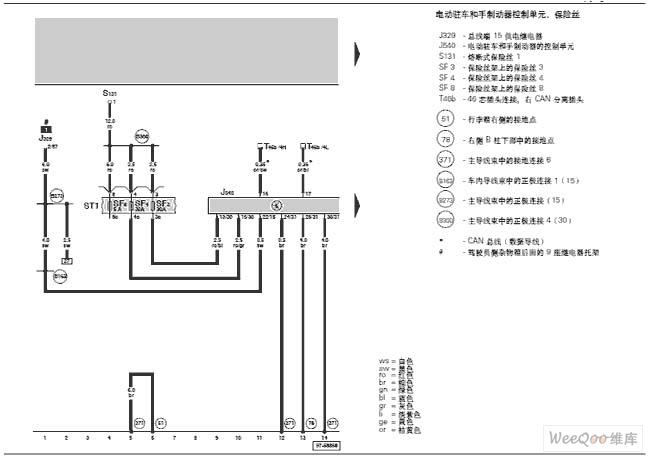 奥迪a6-电子驻车和手制动器的电路图一