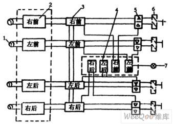abs/asr电路图    1-传感器   2-调节器   3-二通阀   4-asr电磁阀图片