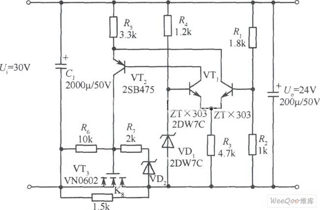 V VMOS管稳压电源电路图-LM317构成的恒流并联稳压电源图片