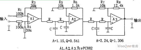用相同参数构成的每倍频程24dB低通滤波器电路图