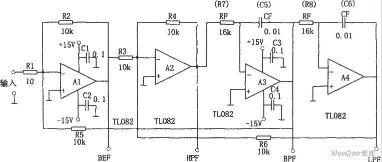 同时获得4种特性的滤波器电路图