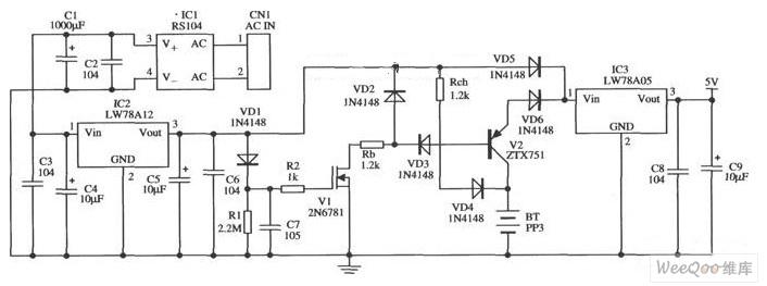 LW78A12控制的瞬时备用的5V电源的应用电路图