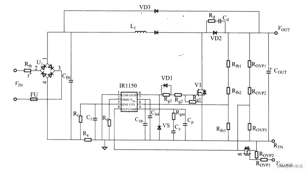 由IR1150组成的PFC完整电路图