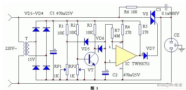 twh8751构成的冰箱保护器工作原理电路图