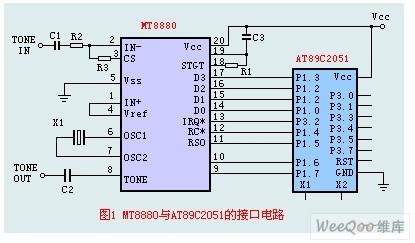 由MT8880与AT89C2051组成的接口电路图