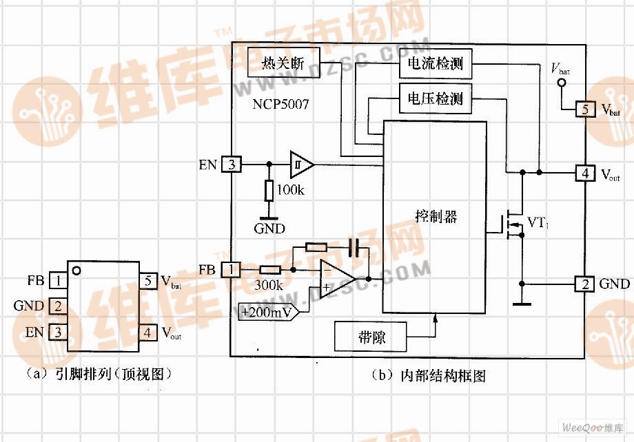 NCP5007引脚排列及其内部结构框图