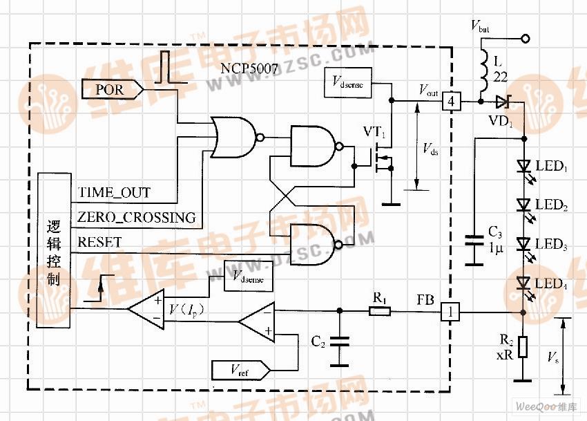 基于NCP5007的升压型LED的驱动电路工作原理图