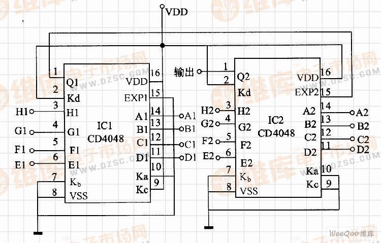 输入端或非门构成电路