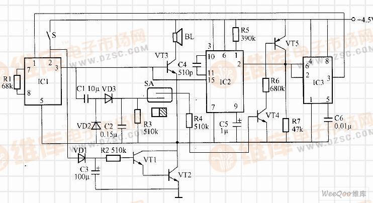 基于NS5603的礼仪迎宾电子门铃控制电路