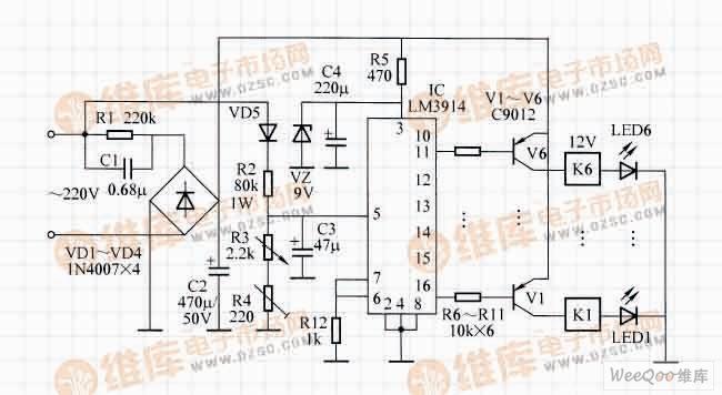带LED电压指示的全自动稳压器电路