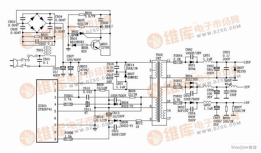 SONY F29丽音王系列机芯有KV-2565MT、KV-2565MTJ、KV-2584MT、KV2954MT、KV2965MT、KV2966MI等型号,采用厚膜电路STR-S5741,为变压器耦合并联型自激式开关电源,能适应110V-240V的电网电压,主电源输出135V,输出功率达200W。   振荡过程开机后C607上约300V直流电压,一方面经T602的(4)、(2)脚加到IC601的(1)脚内部开关管的C极上,同时300V电压经R603加到IC601的(1)脚内部开关管的B极上,开关管开始导