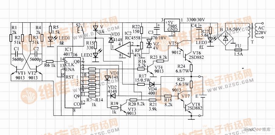 电路工作原理:该充电器由振荡,分频,充放电,检测等电路组成.