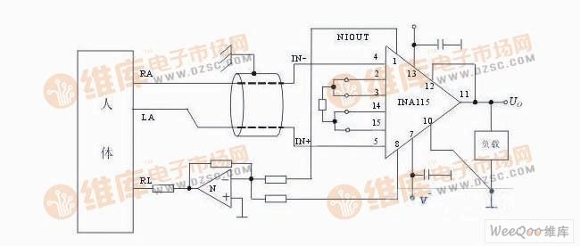 普通型心电检测电路图