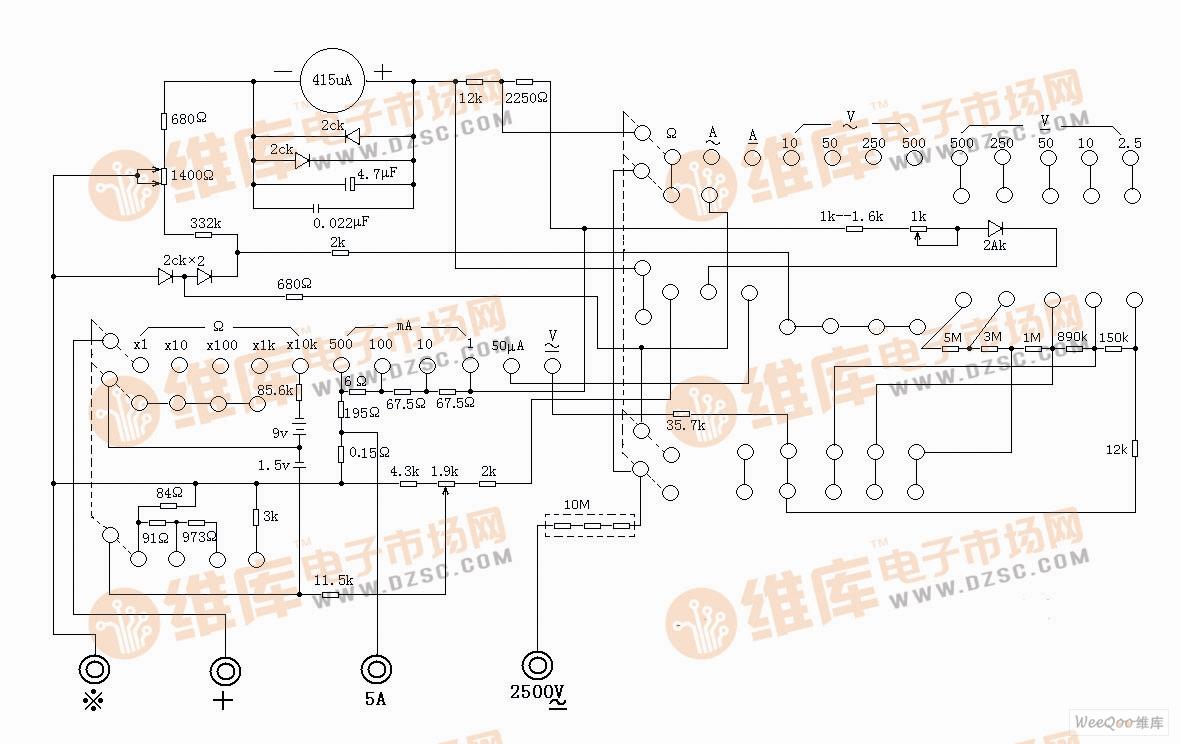 500-B型万用电表原路图