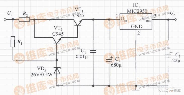 提高MIC2950的输入电压范围的稳压器电路