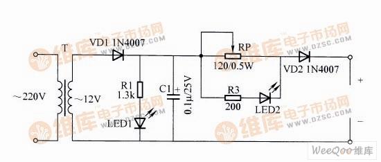 可调充电电流的充电器电路图