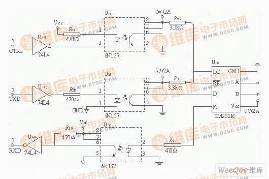 整个系统内部通过RS485进行通信。具体电路如图4所示。因为控制芯片都采用AT89C52,作为主监控单元CPU只有一个串口,而其并口也没有充分利用起来,故通过可编程串行接口芯片8250扩展串口,用并口来模拟串口。