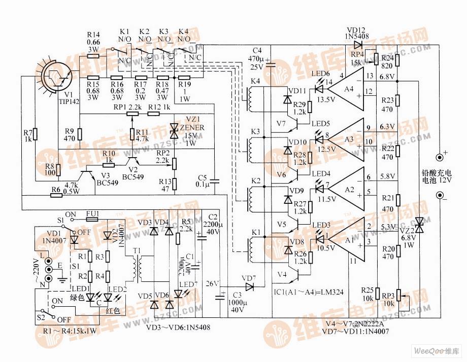 功率自动控制的铅酸电池充电器电路图