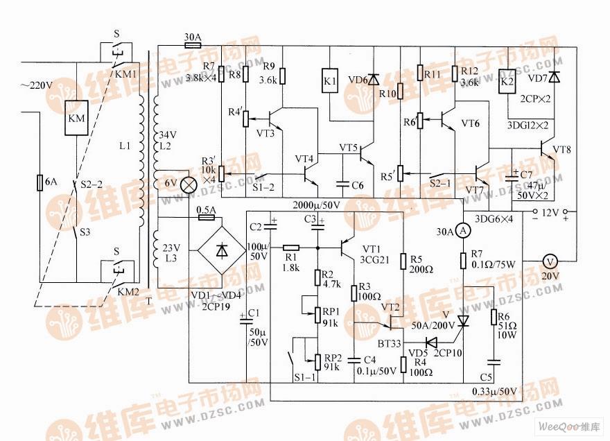 全自动两阶段恒流充电器电路图
