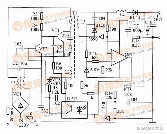 开关电源充电器电路   电路工作原理:由图可知,VC1、L5以及C2等组成市电输人整流滤波电路,C2两端产生约300V的直流高压。VT1、VT2、L1、L2等组成自激式振荡电路,R3、R4提供启动偏置电流,使VT1加电时即导通。当主回路L1中有电流流过时,L2上产生感应电动势,当其峰值超过3V时,VD5被击穿,通过R8向VT2提供偏流,使VT2饱和导通,VT1因偏置电压被短路而关断。当L1中电流关断时,L2感应电动势的极性反相,经VD5、R8加反向偏压于VT2基极,VT2转变为截止状态,VT1经R3、R