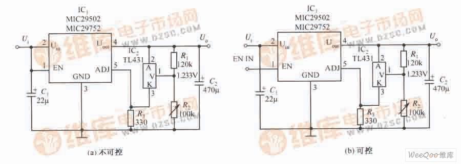 MIC29502/MIC29752构成的输出精度得到改善的稳压器电路