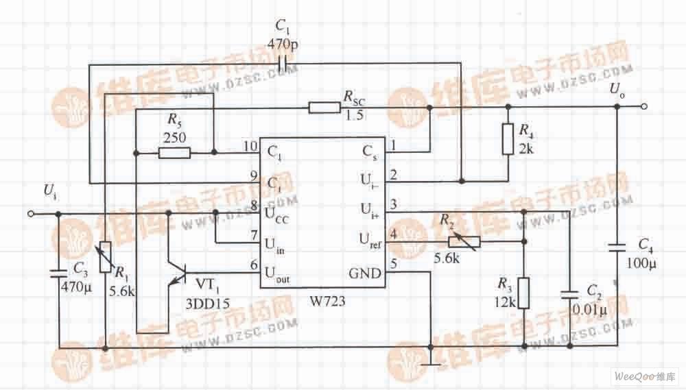 由W723构成的低电压并带有限流功能的扩流应用电路图