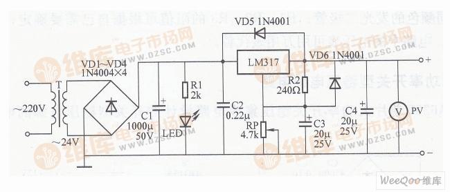 简易可调稳压电源电路图(一)