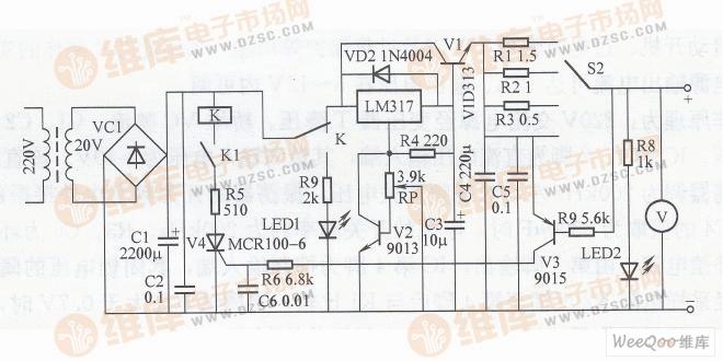 简易可调稳压电源电路图